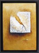tableau abstrait abstrait jaune blanc tableau : Déchirure