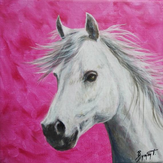 TABLEAU PEINTURE cheval blanc rose animaux Animaux Acrylique  - Cheval blanc sur fond rose