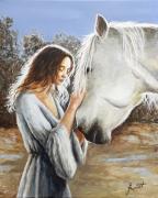 tableau animaux cheval blanc animaux bleu : Tendre complicité