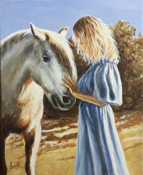 TABLEAU PEINTURE cheval animaux blanc bleu Animaux Acrylique  - Rencontre