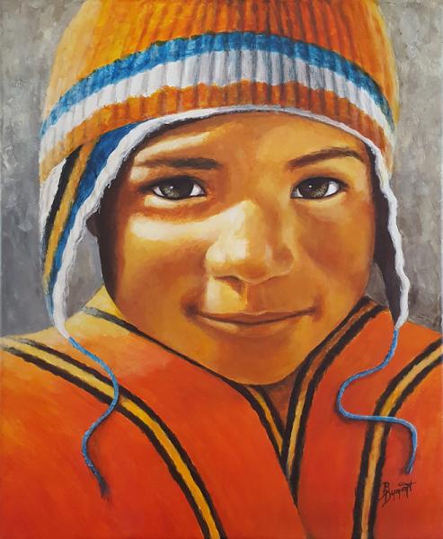 TABLEAU PEINTURE enfant pérou regard figuratif Personnages Acrylique  - Le petit péruvien