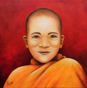 tableau personnages enfant moine tibet figuratif : Le petit moine
