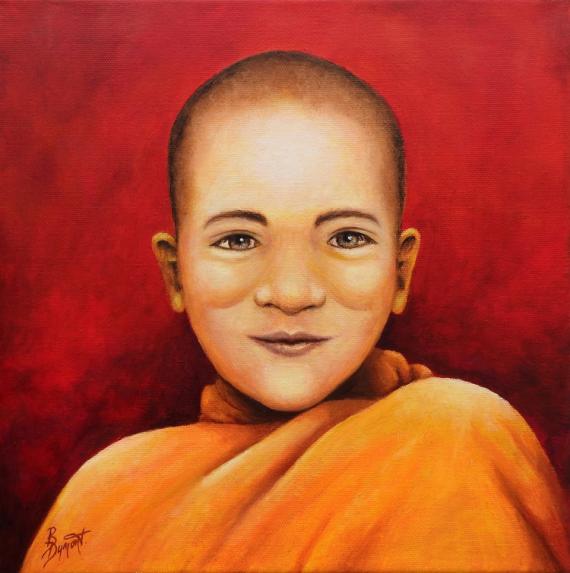 TABLEAU PEINTURE enfant moine tibet figuratif Personnages Peinture a l'huile  - Le petit moine