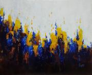 tableau scene de genre abstrait tableau blanc bleu : Interférences