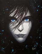tableau personnages femmes noir yeux bleu : Boudeuse