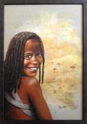 tableau personnages femme afrique visages figuratif : terres lointaines