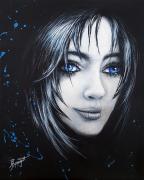 tableau personnages femmes noir yeux bleu : Nouveau regard