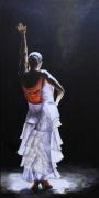 tableau personnages femmes danseuse flamenco figuratif : Flamenco