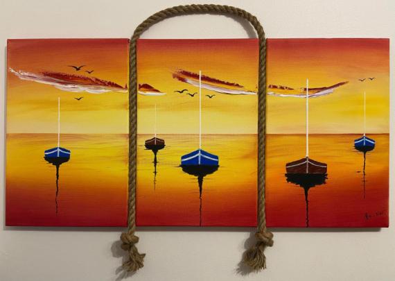 TABLEAU PEINTURE tryptique mer bateaux Marine Acrylique  - Sweet Sunset