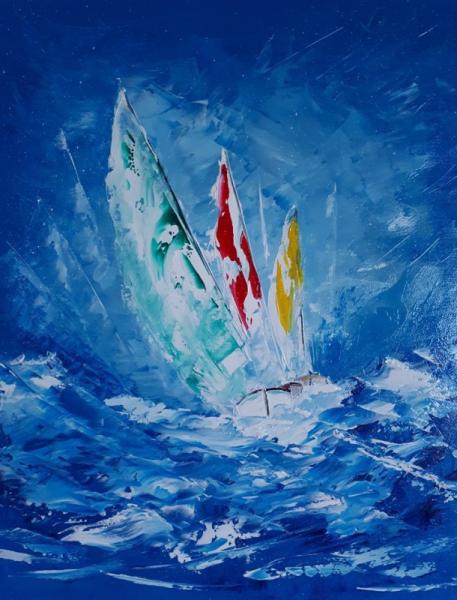 TABLEAU PEINTURE bateaux ocean Marine Peinture a l'huile  - Tempête en Atlantique
