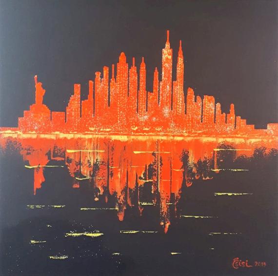 TABLEAU PEINTURE Villes Acrylique  - Dark Red