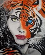 tableau animaux femme tigre sensuelle : Tiger woman
