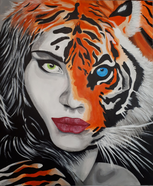 TABLEAU PEINTURE femme tigre sensuelle Animaux Acrylique  - Tiger woman