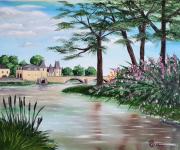 tableau paysages loire : Château sur Loire