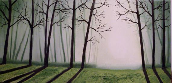 TABLEAU PEINTURE forêt arbres ombres lumière Paysages Peinture a l'huile  - Strange Forest