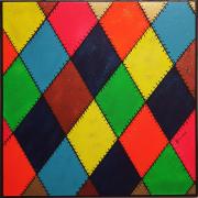 tableau abstrait arlequin fluo paillettes couleurs : Artlequin Evolution