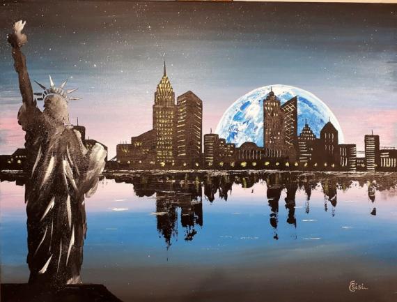 TABLEAU PEINTURE ville lune imaginaire liberté Villes Acrylique  - New York City