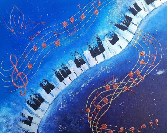 TABLEAU PEINTURE musique piano barry white Acrylique  - Let the music play