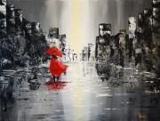 tableau villes ville pluie abstrait : Promenade pluvieuse