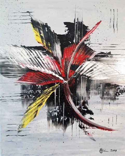TABLEAU PEINTURE Plumes abstrait Abstrait Peinture a l'huile  - Plumes