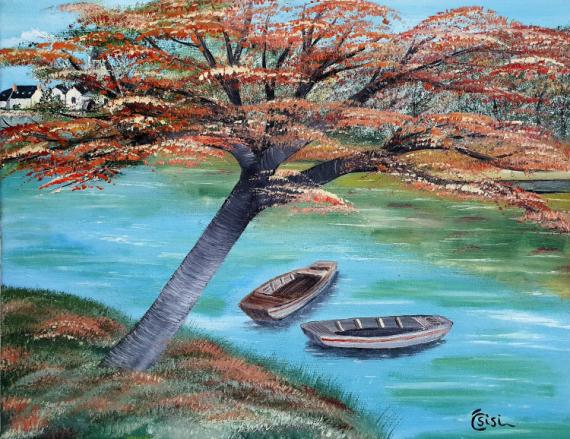 TABLEAU PEINTURE Loire nature barques Paysages Peinture a l'huile  - Ambiance Loire