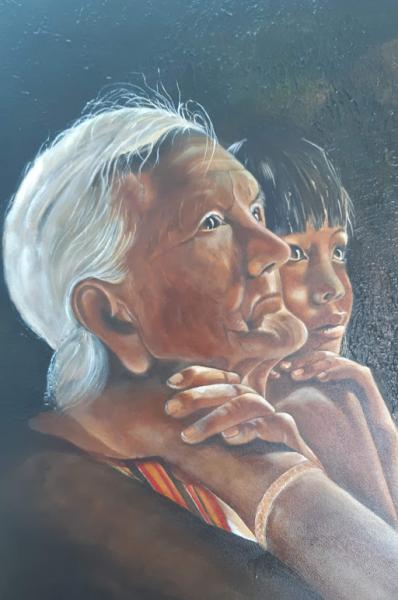 TABLEAU PEINTURE Personnages Enfant Personnages Peinture a l'huile  - Les regards