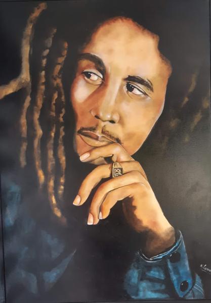TABLEAU PEINTURE Portrait Personnage Bob Marley Personnages Peinture a l'huile  - Bob Marley