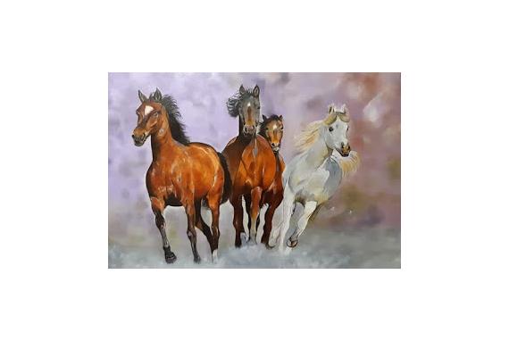 TABLEAU PEINTURE Chevaux Animaux Animaux Peinture a l'huile  - Les chevaux