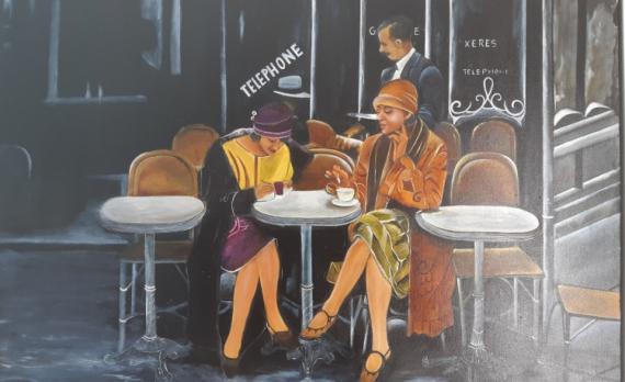 TABLEAU PEINTURE Personnages Scène de vie Personnages Peinture a l'huile  - Les parisiennes
