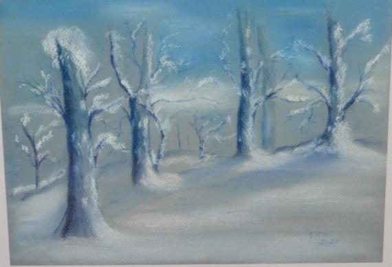 TABLEAU PEINTURE  - Les arbres bleus