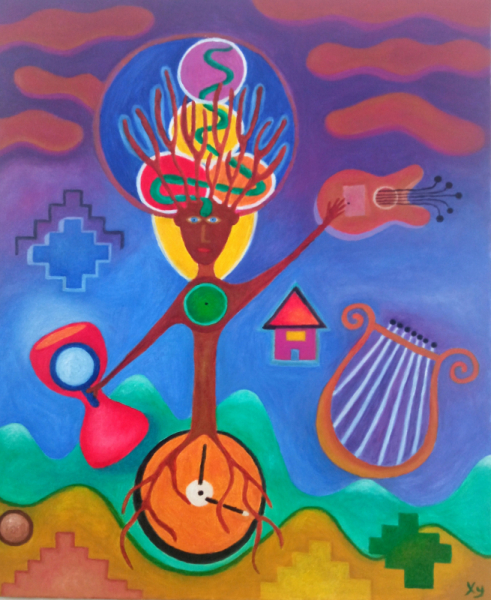 TABLEAU PEINTURE arbre lyre art naif ésotérisme Peinture a l'huile  - L'Homme Arbre