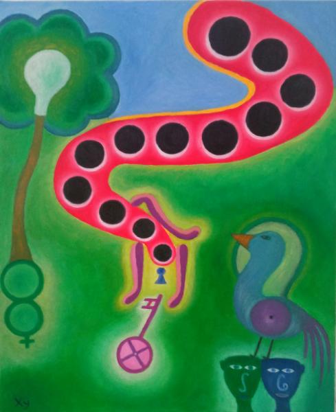 TABLEAU PEINTURE art naif oiseau ésotérisme mathématique Peinture a l'huile  - La porte de l'infini