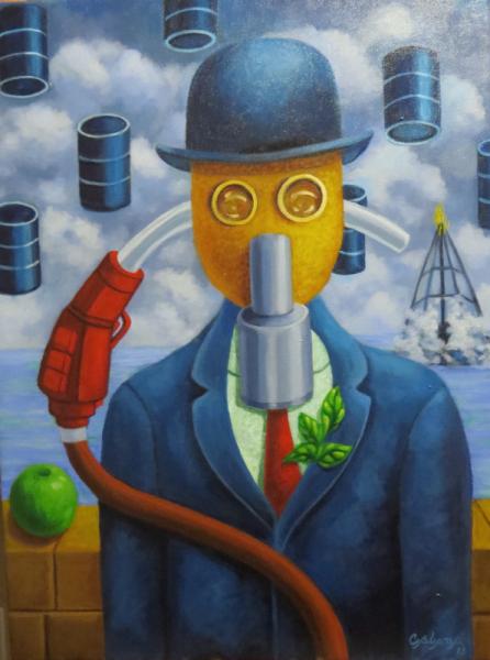 TABLEAU PEINTURE Personnages Acrylique  - dommage à Magritte