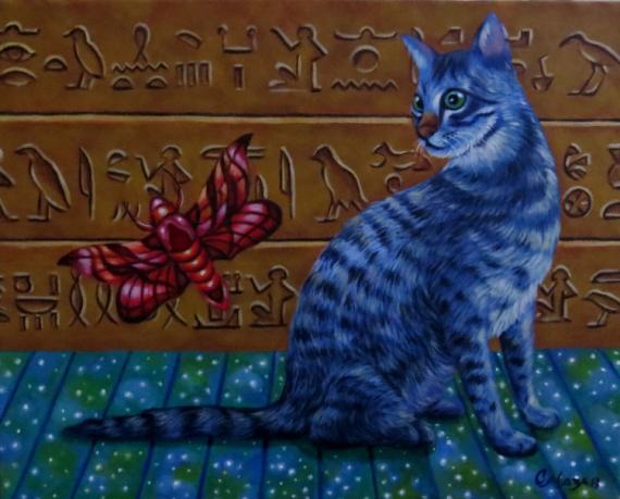 TABLEAU PEINTURE Animaux Acrylique  - chat Égypte