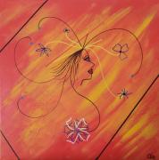 tableau scene de genre femme fleurs orange figuratif : Femme fleur