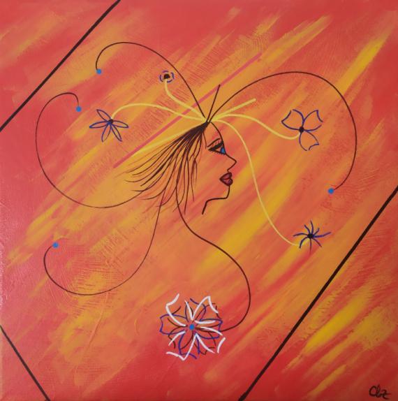 TABLEAU PEINTURE Femme fleurs orange figuratif Scène de genre Acrylique  - Femme fleur