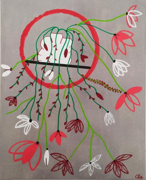 TABLEAU PEINTURE couleurs fleurs bouquet rouge Fleurs Acrylique  - Cascade floral