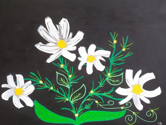TABLEAU PEINTURE Marguerite fleur jaune Fleurs Acrylique  - Marguerites en folie