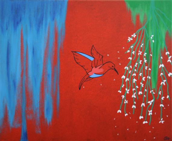 TABLEAU PEINTURE colibri oiseau rouge natue Paysages Acrylique  - Pararaiha