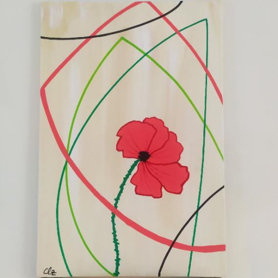 TABLEAU PEINTURE coquelicot fleurs figuratif rouge Fleurs Acrylique  - Spring