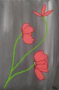 tableau fleurs coquelicots rouge gris figuratif : Coquelicots