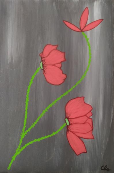 TABLEAU PEINTURE Coquelicots rouge gris figuratif Fleurs Acrylique  - Coquelicots