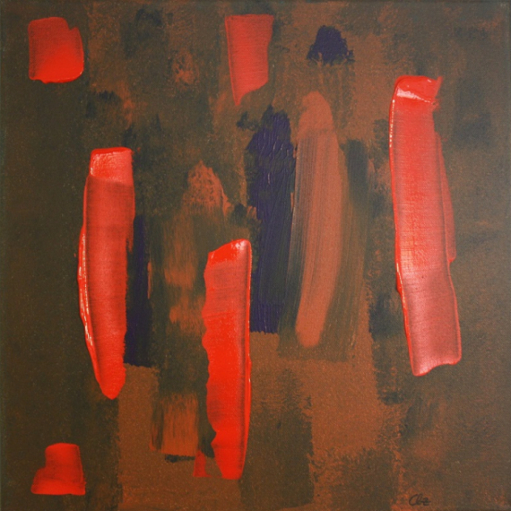TABLEAU PEINTURE Abstrait marron rouge Abstrait Acrylique  - Thing