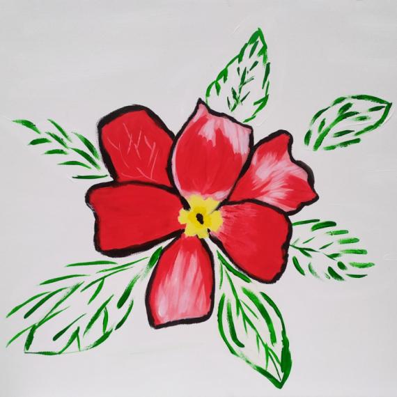 TABLEAU PEINTURE figuratif rouge fleur Fleurs Acrylique  - Fleur
