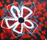 tableau fleurs abstrait fleur rouge petales : Puawai