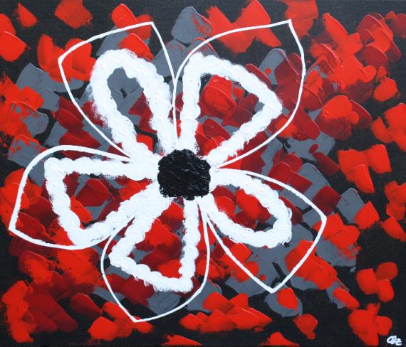 TABLEAU PEINTURE Abstrait fleur rouge pétales Fleurs Acrylique  - Puawai