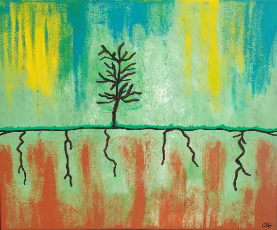 TABLEAU PEINTURE arbre rêve nature morte bleu Nature morte Acrylique  - Terre et Ciel