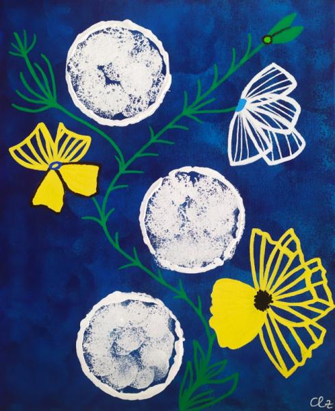TABLEAU PEINTURE bleu abstrait lunes fleurs Abstrait Acrylique  - 3lunes