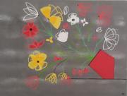 tableau fleurs fleurs bouquet rouge jaune : Bouquet