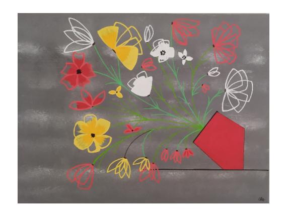 TABLEAU PEINTURE Fleurs bouquet rouge jaune Fleurs Acrylique  - Bouquet